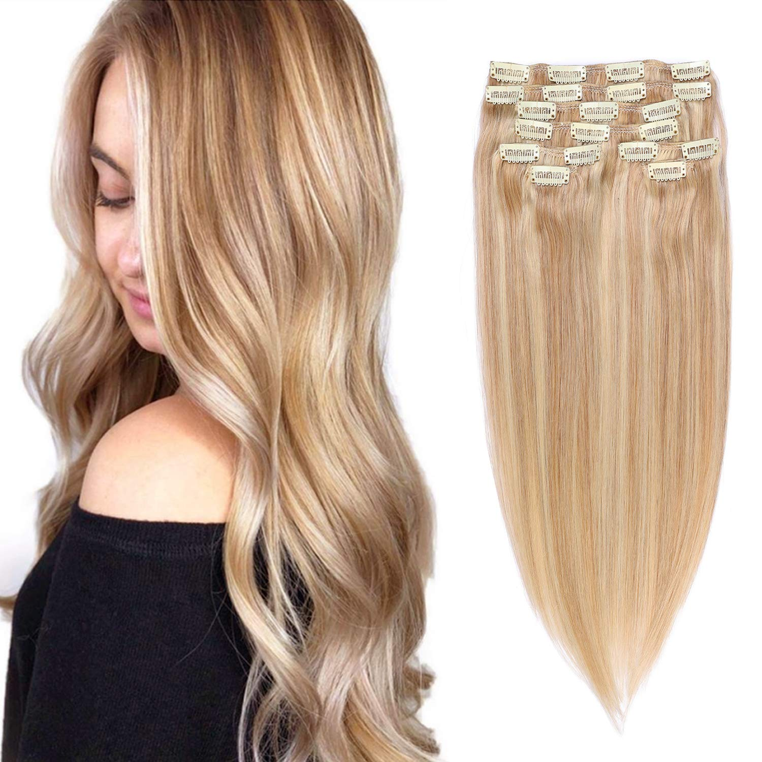 Remy Clip in Hair Extensions Strawberry Blonde with Blonde Highlighted Clip in Real Hair Extensions Human Hair Double Weft Straight Clip on Hair Extensions for Women 8Pcs 18 Inch 140G