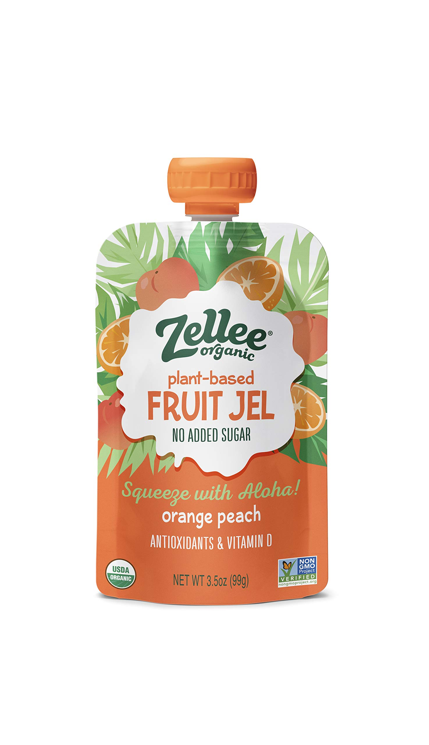Zellee Organic Fruit Jel Pouches   Orange Peach   6 pack   Immunity Boosting Vitamins A, C & D   Gluten-Free, Vegan, Plant-Based, No Added Sugar, Antioxidant Rich   Healthy Snack for Adults & Kids