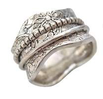 Energy Stone 925 Sterling Silver Artisan Etched Floral Meditation Spinner Ring (Style US17)