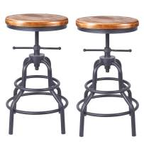 Diwhy Industrial Vintage Bar Stool,Kitchen Counter Height Adjustable Pipe Stool,Cast Iron Stool,Swivel Bar Stool,Metal Stool,27 Inch,Fully Welded Set of 2 (Wooden Top)