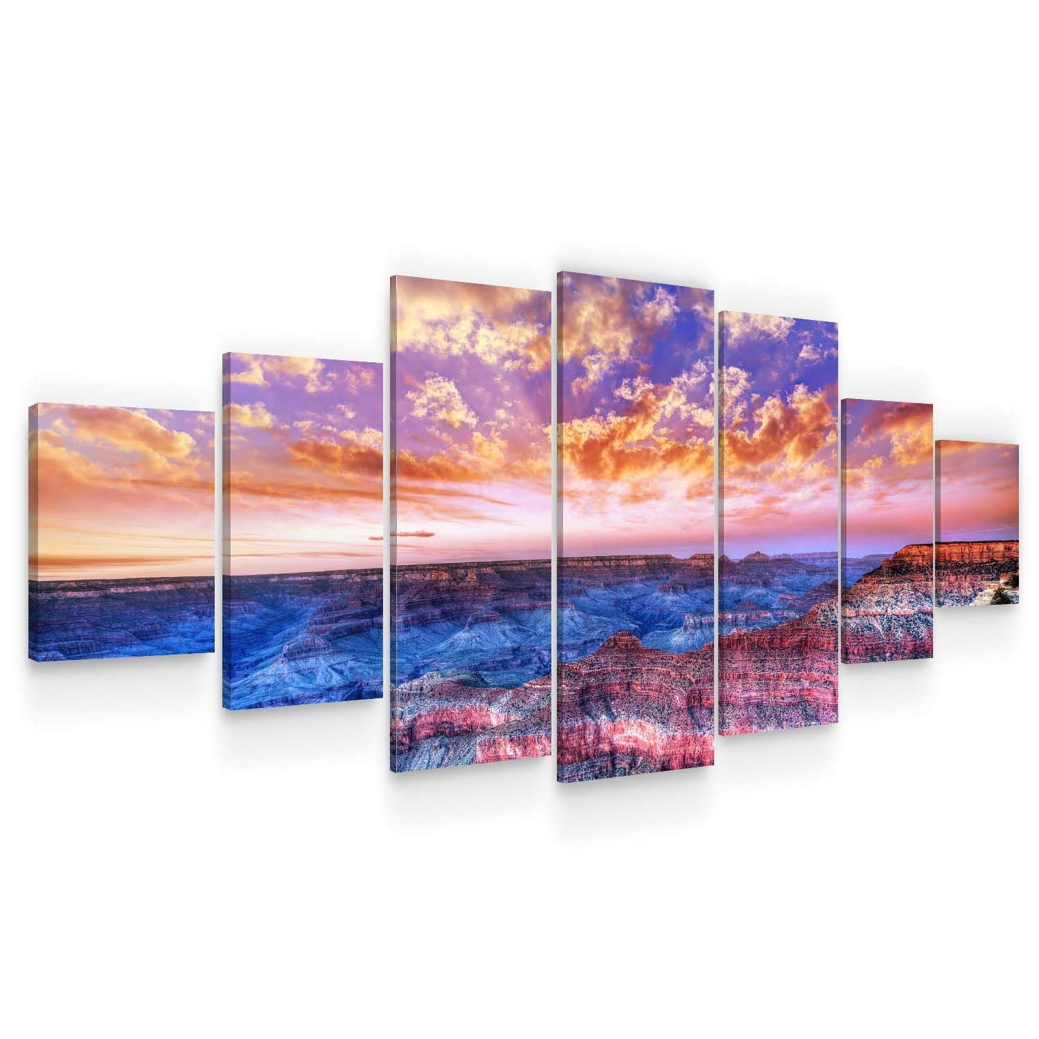 Startonight Huge Canvas Wall Art Grand Canyon View at Sunset - Large Framed Set of 7 40 x 95 Inches