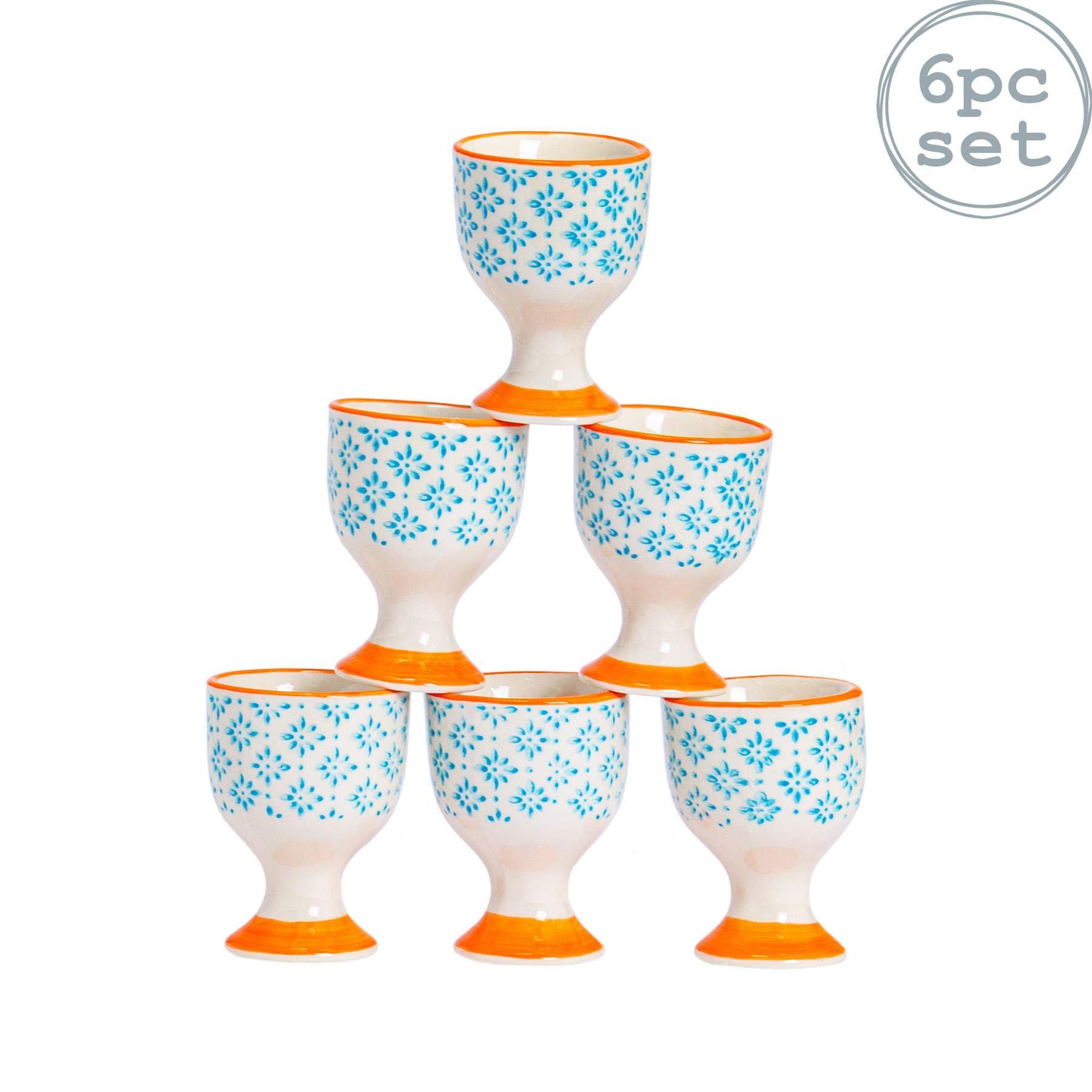 Nicola Spring 6 Piece Hand-Printed Egg Cup Set - Japanese Style Porcelain Breakfast Hard Soft Boiled Eggs Holder - Blue