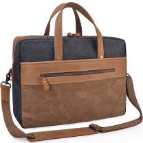 Mens Messenger Bag 15.6 Inch Leather Briefcase Waterproof Canvas Laptop Bag