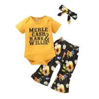 Toddler Girls Baby Girls Leopard Sets Long Sleeve Romper + Bell Bottom Infant Summer Outfit