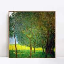 "INVIN ART Framed Canvas Giclee Print Art Trees by Gustav Klimt Wall Art Living Room Home Office Decorations(Wood Color Slim Frame,24""x24"")"