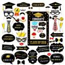 2019 Graduation Photo Booth Props,Large Graduation Frame Selfie Picture Frame for Congratulations 2019 Graduation Party Supplies-51PCS DIY Set