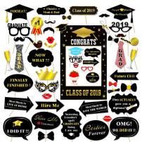 2019 Graduation Photo Booth Props,Large Graduation Frame Selfie Picture Frame for Congratulations 2019 Graduation Party Supplies-51PCS DIY Set