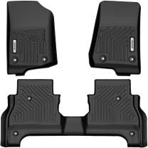 oEdRo Floor Mats Compatible for 2020 Jeep Gladiator, Unique Black TPE All-Weather Guard Includes 1st and 2nd Row Full Set Liners