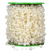SUNTQ 196 Feet Fishing Line 3-8mm Artificial Pearls String Beads Chain Garland Flowers Wedding Party Decoration,Party Supplies(60m, Ivory)