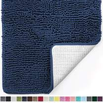 Gorilla Grip Original Luxury Chenille Bathroom Rug Mat, 44x26, Extra Soft and Absorbent Large Shaggy Rugs, Machine Wash Dry, Perfect Plush Carpet Mats for Tub, Shower, and Bath Room, Navy Blue