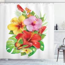 """Ambesonne Hawaiian Shower Curtain, Bouquet of Colorful Hibiscus Flowers with a Butterfly Blooming Plumeria Petals, Cloth Fabric Bathroom Decor Set with Hooks, 84"""" Long Extra, Pink Yellow"""