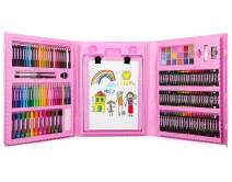 176 Pcs Art Set, Zooawa Girls Art Kit Sketching and Drawing Handle Art Box with Oil Pastels, Crayons, Colored Pencils, Markers, Paint Brush, Watercolor Cakes, Sketchpad for Kids and Toddlers, Colorful