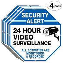 4-Pack Video Surveillance Signs, 12 x 12 Rust Free .040 Aluminum Security Warning Reflective Metal Signs, Indoor or Outdoor Use for Home Business CCTV Security Camera, UV Protected & Waterproof
