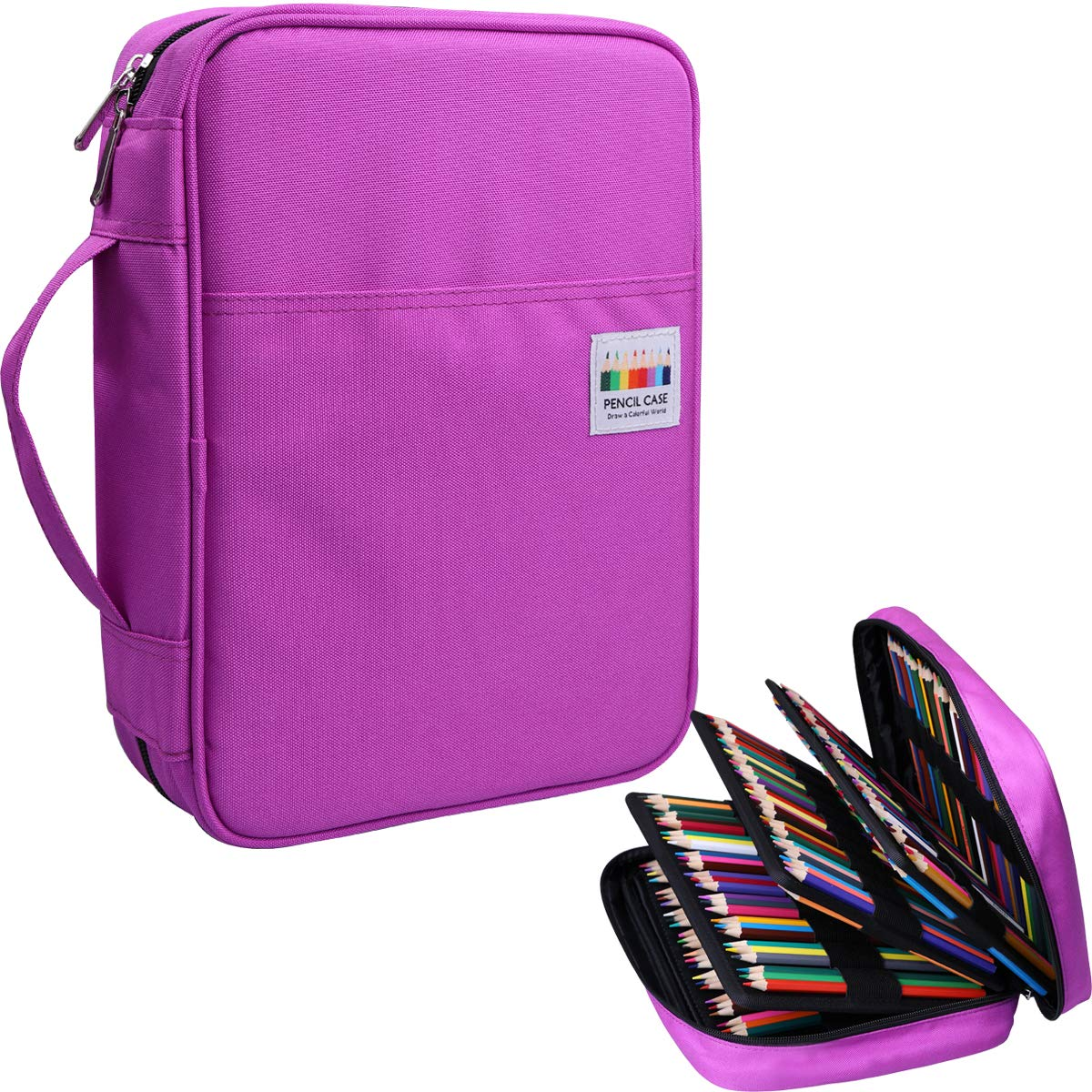 220 Colored Pencil Case Multi Pencil Holder Large Capacity Pen Organizer Bag for Watercolor Pencils, Markers,Gel Pens, Highlighters, Brushes, Great Gift for Students Painter Writers (Purple)