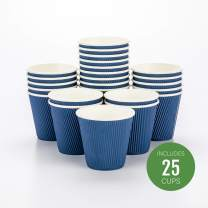 "8 oz Midnight Blue Paper Coffee Cup - Ripple Wall - 3 1/2"" x 3 1/2"" x 3 1/4"" - 25 count box - Restaurantware"