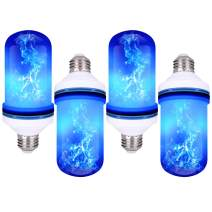 CPPSLEE - LED Flame Effect Light Bulb - 4 Modes with Upside Down Effect - E26 Base LED Bulb - Flame Bulbs for Christmas Decorations /Hotel/Bar/Christmas Party Decoration (4 Pack of Blue)