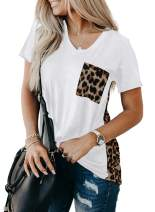 LOSRLY Womens V Neck Short Sleeve Tie Dye Printed Leopard Summer T Shirts Casual Tunic Blouses and Top