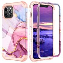 PIXIU Compatible with iPhone 11 case 6.1 inch,Three Layer Heavy Duty Shockproof Protective Soft Silicone Hard Plastic Bumper Sturdy Phone Case Cover for iPhone 11 6.1 inch (Marble)