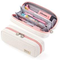 EASTHILL Pencil Case Grid Pencil Pouch with 3 Compartments Stationery Bag Pencil Bag for Girls Teens Students Art School and Office Supplies (Small Plaid Pink)