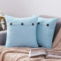 MIULEE Set of 2 Decorative Linen Throw Pillow Covers Cushion Case Triple Button Vintage Farmhouse Pillowcase for Couch Sofa Bed 22 x 22 Inch Light Blue