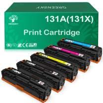 GREENSKY Compatible Toner Cartridge Replacement for HP 131A 131X CF210X CF211A CF212A CF213A Laserjet Pro 200 Color M251n Color M276n M251nw M276nw (Black, Cyan, Yellow, Magenta, 5-Pack)