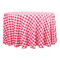 Waysle Round Tablecloth - R120 Inch - Red and White Checker Table Cloth for Circular Tables in Washable Polyester - Great for Wedding | Restaurant | Party | Banquet Decoration