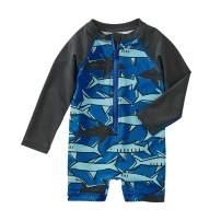 Tea Collection Shortie Rash Guard Swimwear, Boys, School of Sharks