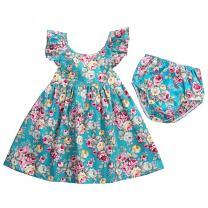 GRNSHTS Baby Girls Flower Print Ruffles Dress Set with Briefs (110 cm/3-4 Years, Floral Dress & Briefs)