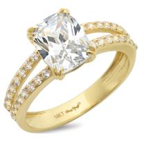 Clara Pucci 4.45 CT Cushion Cut Simulated Diamond CZ Solitaire Engagement Ring 14K Yellow Gold Bridal Jewelry