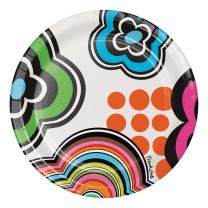 French Bull Mod Birthday- 7-Inch Round Snack Plates, 10-Count