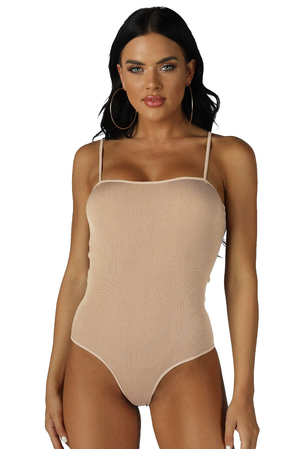 NIKIBIKI Women Seamless Shiny Ribbed Bodysuit, One Size