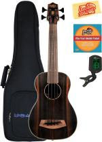 Kala U-Bass-EBY-FS Striped Ebony Fretted Acoustic-Electric U-Bass Ukulele Bundle with Gig Bag, Tuner, Austin Bazaar Instructional DVD, and Polishing Cloth