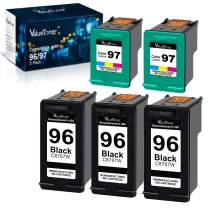 Valuetoner Remanufactured Ink Cartridge Replacement for HP 96 & 97 C8767WN C9363WN (3 Black, 2 Tri-Color) 5 Pack