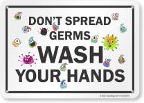 "SmartSign - S2-0798-PL-10""Don't Spread Germs, Wash Your Hands"" Sign 