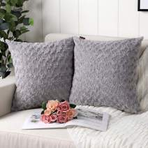 Mandioo Pack of 2 Grey Faux Fur 3D Flower Pattern Fuzzy Cozy Soft Decorative Throw Pillow Covers Set Cushion Cases Pillowcases for Couch Sofa Bedroom Car 22x22 Inches