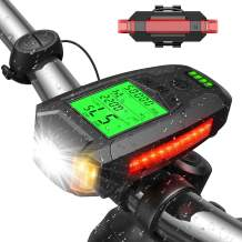 UZOPI Bike Lights Set, USB Rechargeable, Super Bright Front Headlight and Rear LED Bicycle Light, 5 Light Modes, with Speedometer Calorie Counter for Men Women Kids Road Mountain Cycling
