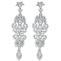 mecresh Gold/Silver Rhinestone Chandelier Wedding Bridal Dangle Earrings