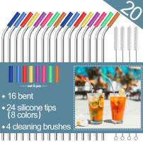 """Stainless Steel Straws,Set of 16 10.5"""" Reusable Drinking Straws for 30oz&20oz Tumblers Cups Mugs, Eco-friendly Metal Straws with 24 Soft Food-Grade Silicone Tips,4 Cleaning Brushes (16 bent)"""