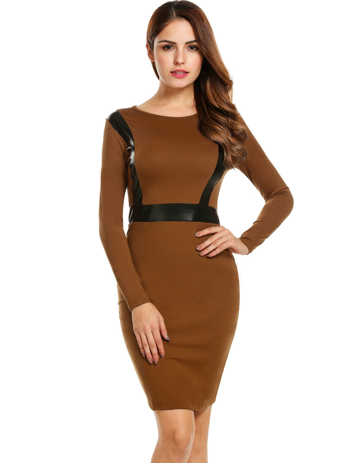 ANGVNS Ladies Knee Length Colorblock Stretch Bodycon Office Dress