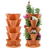 "Houseables Stackable Planter, Garden Vertical Planters, 30"" H x 14"" W, Polypropylene, Terracotta, Gardens, 5 Tiers, Tower, Indoor, Gardening Pots, Plant Stand, for Herbs, Strawberries, Vegetable"