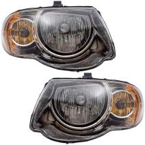 """Brock Replacement Set Driver and Passenger Halogen Headlights Compatible with 2005-2007 Town & Country Van with 119"""" Wheelbase"""