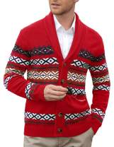 PJ PAUL JONES Men's Shawl Collar Cardigan Sweaters Casual Cable Knitted Aran Sweater with Buttons