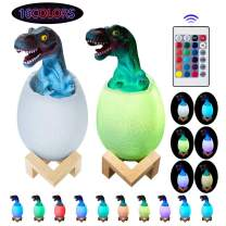 Visnfa Night Light for Kids, 3D Dinosaur Toys Touch Night Light Bedside Lamp with Stand Remote Pat Touch Control 16 Colors for 1 2 3 4 5 6 7 8 Year Old Boy or Girl Gifts & Living Bed Room
