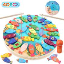 BeebeeRun 40PCS Wooden Magnetic Fishing Game,Toddler Educational Toys,Preschool Alphabet and Number Fish Catching Counting Board Games Toys for 2 3 4 Year Old Girls Boys Kids