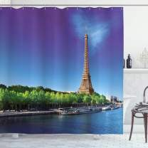 "Ambesonne Eiffel Tower Shower Curtain, Seine Paris with Eiffel Tower Sunrise Trees River Nature Panorama, Cloth Fabric Bathroom Decor Set with Hooks, 75"" Long, Green Blue"