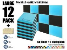 Arrowzoom New 12 Pieces of 19.6 X 19.6 X 1.9 inches Soundproofing Insulation Flat Bevel Acoustic Wall Padding Studio Foam Tiles AZ1039 (Black & Baby Blue)
