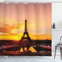 "Ambesonne Eiffel Tower Shower Curtain, View of Eiffel Tower at Sunrise Paris Historical Monument Panoramic, Cloth Fabric Bathroom Decor Set with Hooks, 70"" Long, Salmon Yellow"