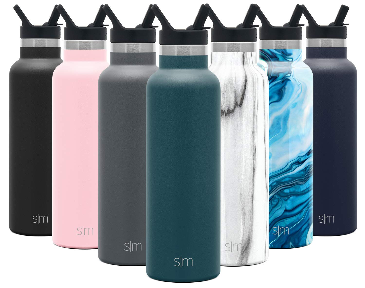 Simple Modern 20 Ounce Ascent Water Bottle with Straw Lid - Stainless Steel Hydro Thermos Tumbler - Double Wall Vacuum Insulated Reusable Metal Leakproof -Riptide