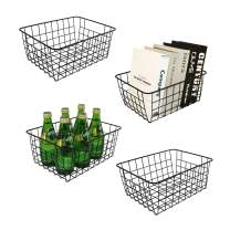 Wire Basket , Mamgaa Metal Fruit Basket for Kitchen Wire Baskets for Storage Pantry Hanging Fruit Baskets for Kitchen (Black, Small- 4 Packs)