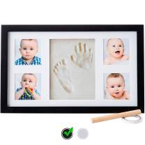 Baby Handprint Kit |NO Mold| Baby Picture Frame, Baby Footprint kit, Perfect for Baby Boy Gifts,Top Baby Girl Gifts, Baby Shower Gifts, Newborn Baby Keepsake Frames (Deluxe, Black)